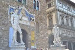 A fake David statue outside the Palazzo Vecchio