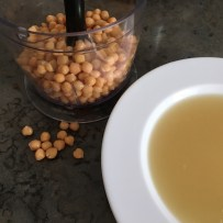 Reserve a handful of chickpeas for garnish and keep the liquor from the can.