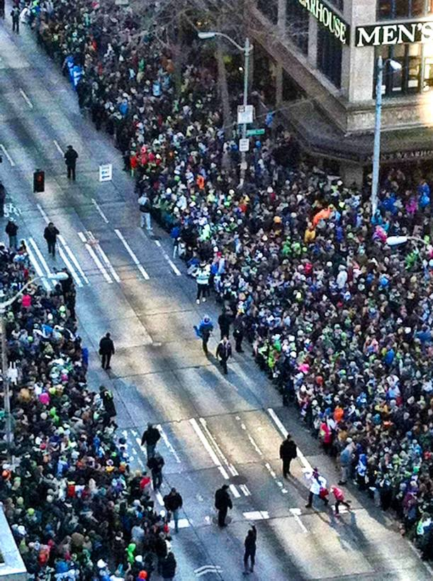 Seahawks homecoming parade. Downtown Seattle.