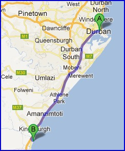Map from Durban to Suntide Illovo Sands.