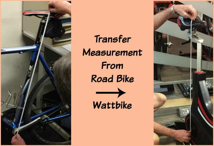 Transfer saddle stem measurement from your road bike to the Wattbike.