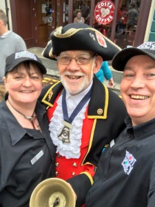 The Nowt Poncy® team meet Clitheroe Town Cryer Mr Roland Hailwood
