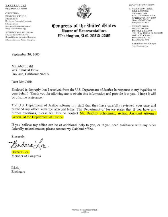 Congresswoman Lee's Letter Referring USAG Bradley Scholzman to al-Hakim