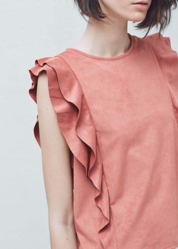 Mango pink ruffle sleeveless top SS16 trends