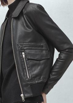 Mango Pocket Jacket SS16 Black leather jacket 60's style mod