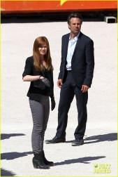 """*EXCLUSIVE* Isla Fisher and her co-stars film """"Now You See Me"""" at the famous Neon Graveyard Museum"""