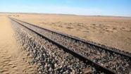 b rail road tracks in desert