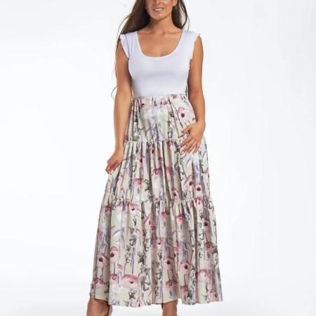 divatos női szoknya maxi hosszú szoknya pasztell színben