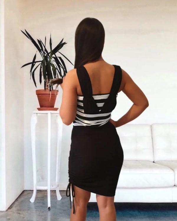NXM-210 oldalt megkötős mini ruha fekete