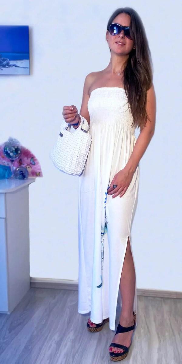 NXM-214 smokkolt hosszú ruha fehér