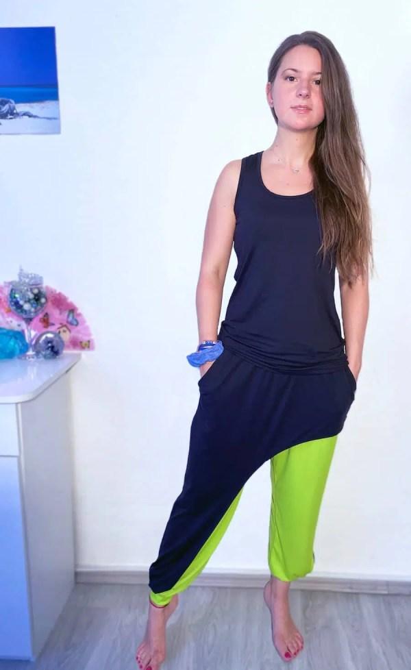 NXM-221 női jogging 3 részes szett zöld-fekete