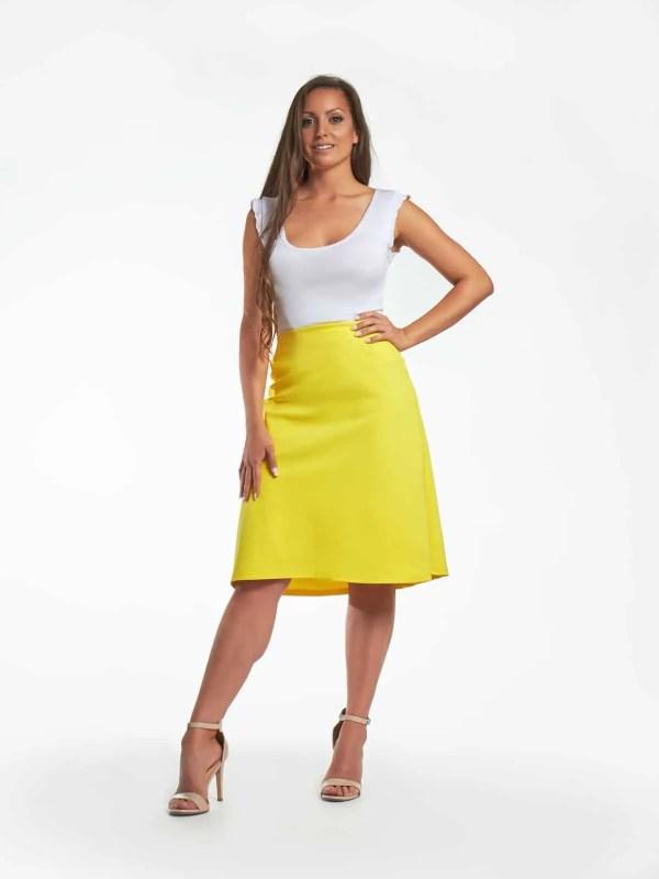 Hecendorfer fashion divatos sárga térdig érő női szoknyája