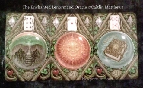 The Enchanted Lenormand Oracle: Crossing-36, Sun-31, & Book-26.