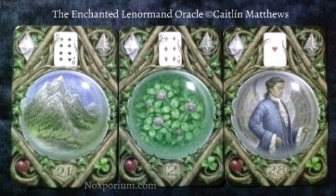The Enchanted Lenormand Oracle: Mountain-21, Clover-2, & Man-28.