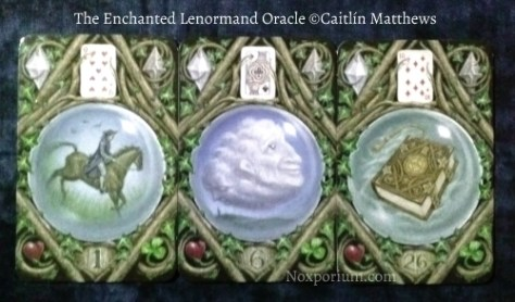 The Enchanted Lenormand Oracle: Rider-1, Clouds-6, & Book-26.