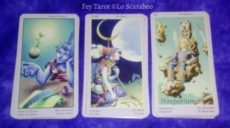 Fey Tarot: Knave of Wands, The Moon, & The Emperor.
