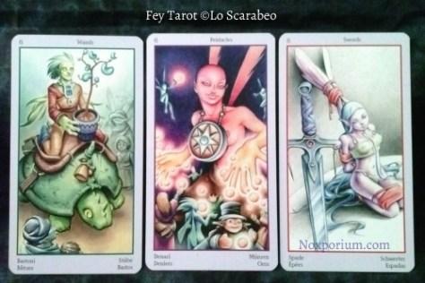 Fey Tarot: 6 of Wands, 6 of Pentacles, & 8 of Swords.