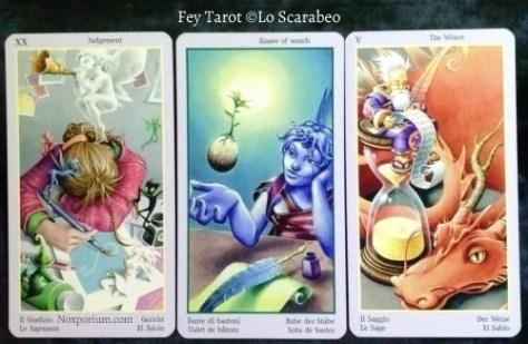 Fey Tarot: Judgement, Knave of Wands, & The Wisest [V].