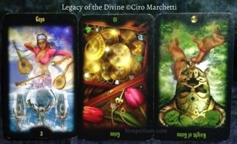 Legacy of the Divine: 3 of Cups, 10 of Coins reversed, & Knight of Coins reversed.