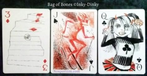 Bag of Bones: 3 of Diamonds, Jack of Spades, & Queen of Clubs