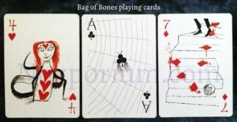 Bag of Bones: 4 of Hearts, Ace of Clubs, & 7 of Diamonds.