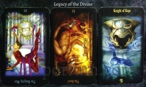 Legacy of the Divine: The Hanging Man reversed, The Devil reversed, & Knight of Cups.