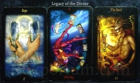 Legacy of the Divine: 2 of Cups, The Fool reversed, & The Devil.