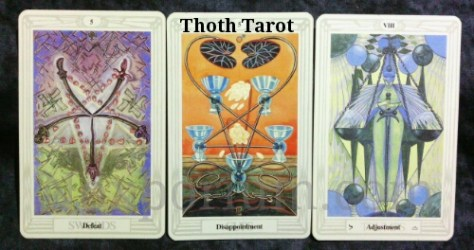 Thoth Tarot: 5 of Swords, 5 of Cups, Adjustment [VIII].