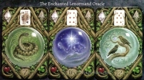 The Enchanted Lenormand Oracle:  Snake (7), Star (16), & Birds (12).