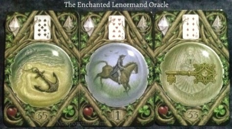 The Enchanted Lenormand Oracle: Anchor (35), Rider (1), & Key (33).