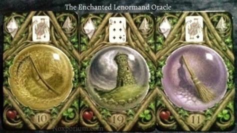 The Enchanted Lenormand Oracle: Scythe (10), Tower (19), & Broom (11).