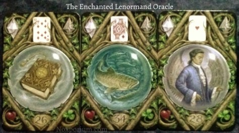 The Enchanted Lenormand Oracle: Book (26) + Fish (34) + Man (28).