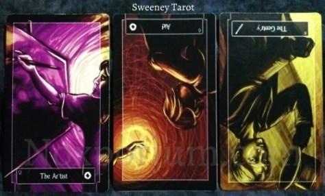 Sweeney Tarot: Queen of Coins, 6 of Coins reversed, & King of Wands reversed.