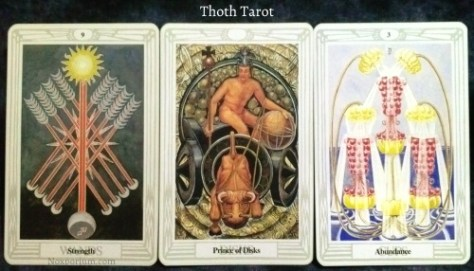 Thoth Tarot: 9 of Wands, Prince of Disks, & 3 of Cups.