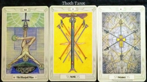 Thoth Tarot: The Hanged Man, 5 of Wands, & 6 of Swords.
