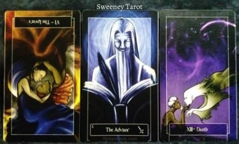 Sweeney Tarot: The Lovers reversed, King of Swords, & Death.