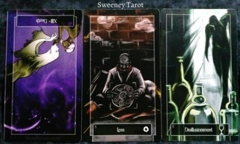 Sweeney Tarot: Death reversed, 5 of Coins, & 5 of Cups.