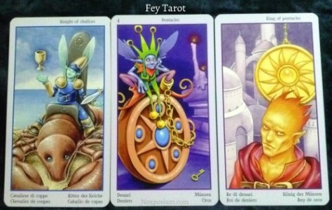 Fey Tarot: Knight of Chalices, 4 of Pentacles, & King of Pentacles.