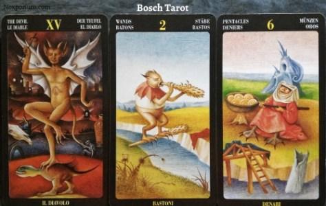 Bosch Tarot: The Devil, 2 of Wands, & 6 of Pentacles.