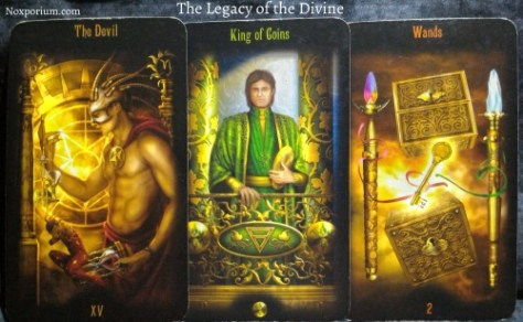 The Legacy of the Divine, The Devil, King of Coins, & 2 of Wands.