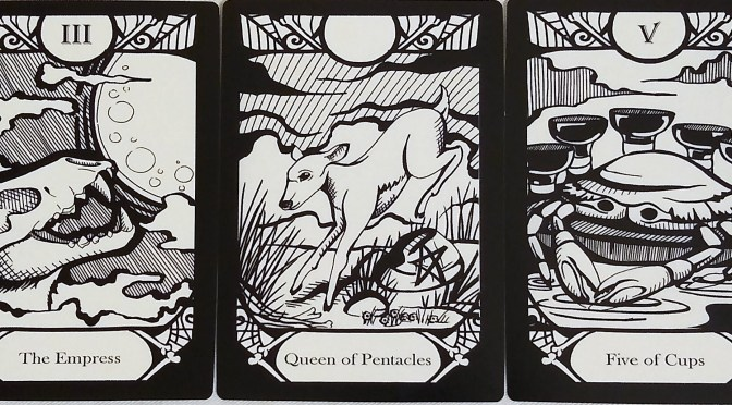 Animalis Os Fortuna: The Empress [III], Queen of Pentacles, & Five of Cups.