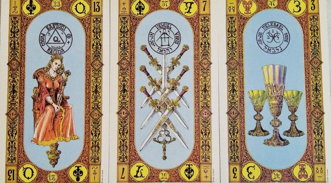 Stairs of Gold: Queen of Staves, 7 of Swords, & 3 of Cups.
