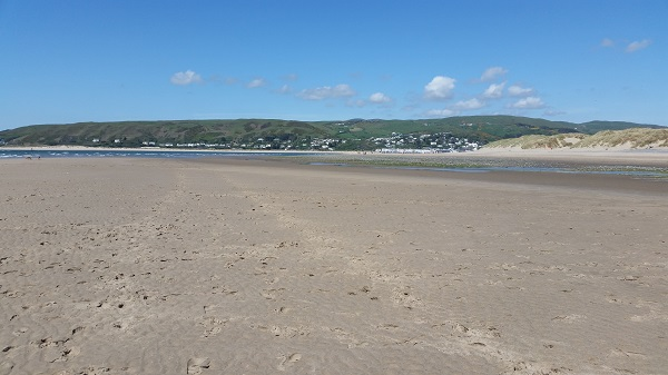 Ynyslas with Aberdovy in the distance