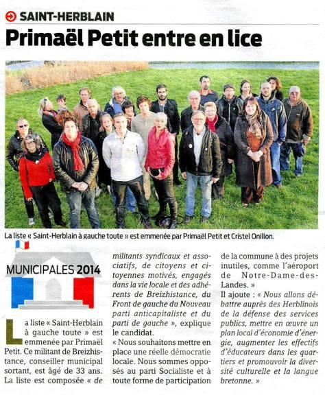 article paru dans Presse-Océan, Saint-Herblain, 8 mars 2014