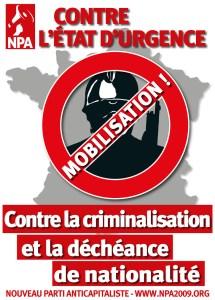 NPA affiche contre l'état du'rgence conter la discrimination et la déchéance de nationalité