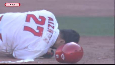 【GIF】広島カープ會澤翼、甲斐野から顔面死球を受ける・・・