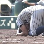 【GIF】仙台育英の敦賀気比のサイクルヒッターへの頭部死球…