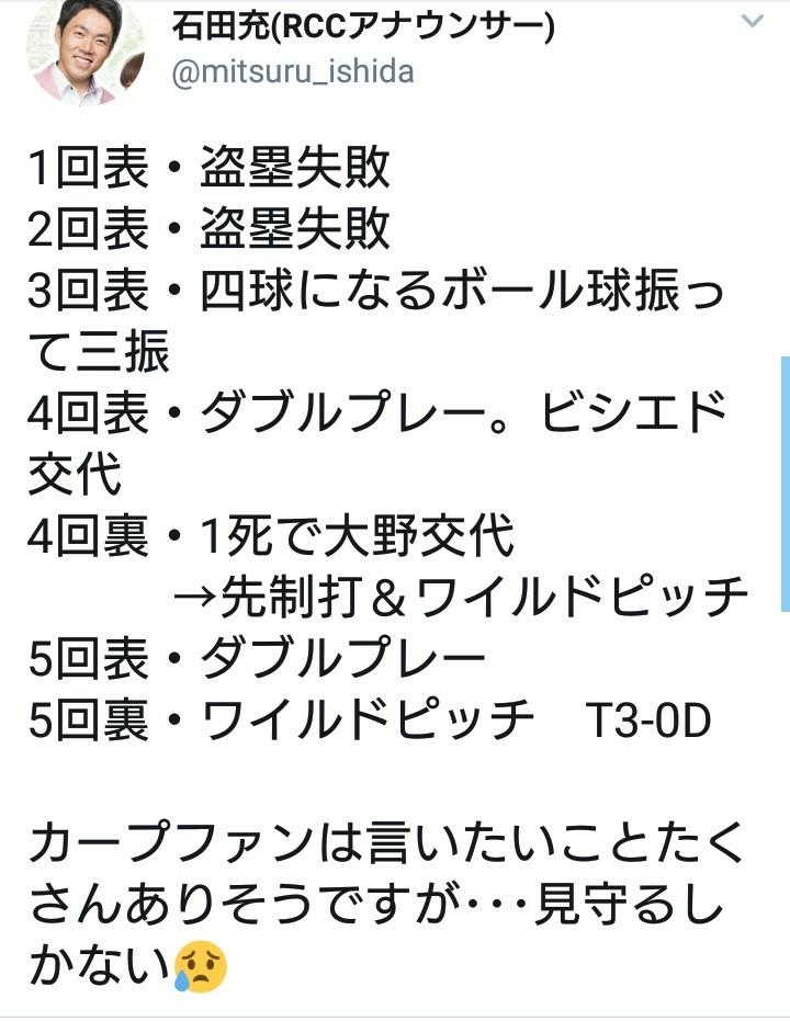 【悲報】広島の石田充アナウンサー、悔しさのあまりとんでもないツイートをしてしまう