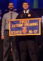State Champion_Extemporaneous Public Speaking_PrestonTibbett with NCHS FFA Advisor Aaron Beaubouef