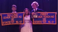 State Runner Up_Geaux Teach Ag_Frank Lester and State Champion_Geaux Teach Ag_Bradley Scott. Also pictured is NCHS FFA Advisor Sarah Dyso